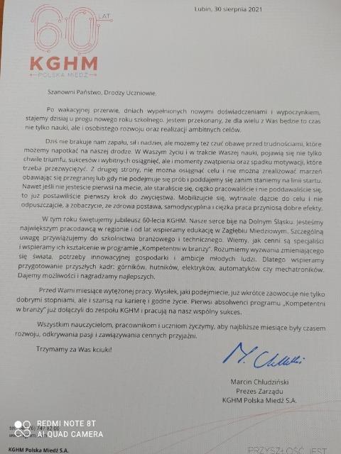 List Prezesa Zarządu KGHM Polska Miedź S.A.
